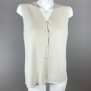 Eileen Fisher Beige Sleeveless Vest